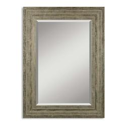 Uttermost B Distressed Silver Leaf With Black Hallmar Beveled Mirror With Wood Frame