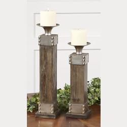 Uttermost Natural Wood Lican Set Of 2 Candle Holders