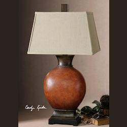 Uttermost Rustic Single Light Round Ceramic Table Lamp From The Suri Collection