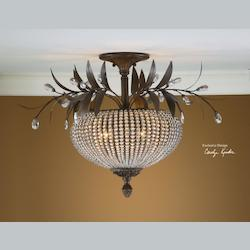Uttermost Golden Bronze Cristal De Lisbon 3 Light Semi-Flush Ceiling Fixture