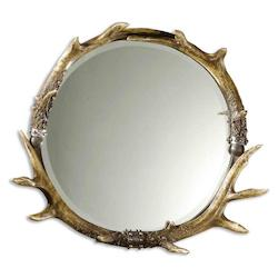 Uttermost B Natural Brown And Ivory, Silver Leaf Accent Stag Horn Rustic Frame Mirror
