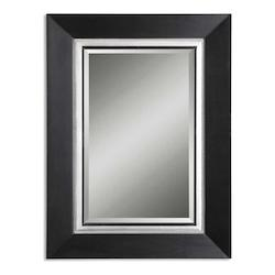 Uttermost B Matte Black With Silver Whitmore Sleek Solid Wood Framed Mirror
