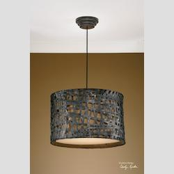 Uttermost Aged Black Alita 3 Light Metal Hanging Shade Pendant