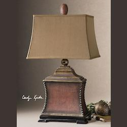 Uttermost Aged Red Woven Texture Base Lamp With Textile Shade From The Pavia Collection