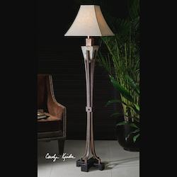 Uttermost Slate Single Light Down Lighting Four Band Floor Lamp From The Slate Collection