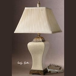 Uttermost Crackled Aged Ivory Porcelain With Heavily Antiqued Ivan Table Lamp