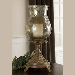 Uttermost Aged Black Chandell Candleholder With Glass Globe