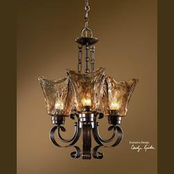 Uttermost 3 Light Single Tier Chandelier With Handmade Glass Shades