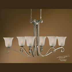 Uttermost Mottled Silver Leaf Wide 6 Light Single Tier Chandelier From The Lyon Collection