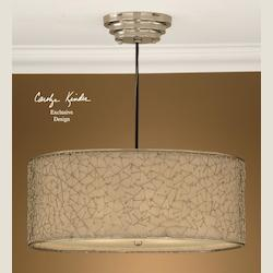 Uttermost Nickel Plated, Ivory 3 Light Hanging Shade Pendant From The Brandon Collection