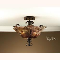 Uttermost Oil Rubbed Bronze 2 Light Semi Flush Ceiling Fixture From The Vetraio Collection