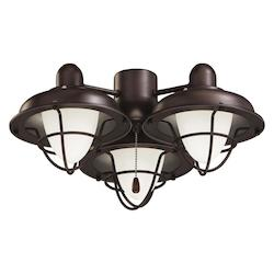 Emerson Fans Golden Espresso CLOSEOUT - 3 Light Boardwalk Cage Ceiling Fan Light Kit