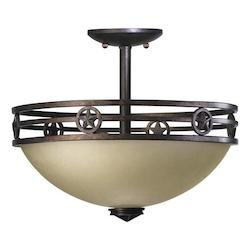 Quorum Two Light Toasted Sienna Bowl Semi-Flush Mount
