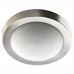 Quorum Two Light Satin Nickel Opal Glass Bowl Flush Mount