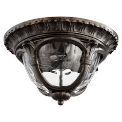Quorum Two Light Clear Hammered Glass Oiled Bronze Oiled Bronze Outdoor Flush