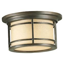 Quorum One Light Oiled Bronze Amber Scavo Glass Drum Shade Flush Mount