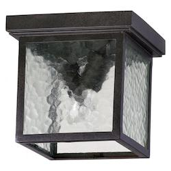 Quorum Two Light Oiled Bronze Cleared Hammered Glass Outdoor Flush Mount