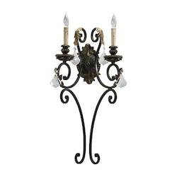 Quorum Two Light Toasted Sienna With Mystic Silver Wall Light