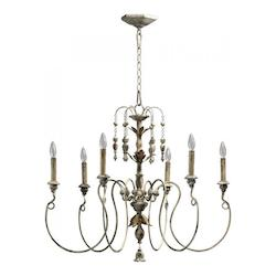 Quorum Six Light Persian White Up Chandelier