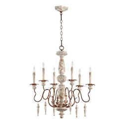 Quorum Six Light Manchester Grey W/ Rust Accents Up Chandelier