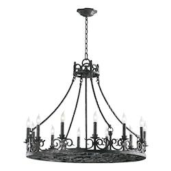 Quorum Twelve Light Spanish Silver Up Chandelier