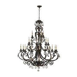 Quorum Twenty One Light Toasted Sienna With Mystic Silver Up Chandelier