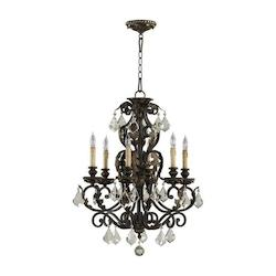 Quorum Six Light Toasted Sienna With Mystic Silver Up Chandelier