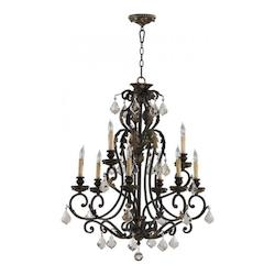 Quorum Nine Light Toasted Sienna With Mystic Silver Up Chandelier