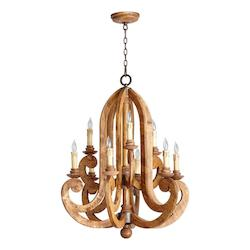 Quorum Nine Light Provincial W/ Rustic Iron Accents Up Chandelier