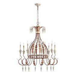 Quorum Eight Light Manchester Grey W/ Rust Accents Up Chandelier