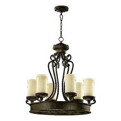 Quorum Six Light Oiled Bronze Amber Scavo Glass Candle Chandelier