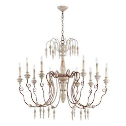 Quorum Ten Light Manchester Grey W/ Rust Accents Up Chandelier