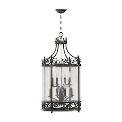 Quorum Eight Light Spanish Silver Framed Glass Foyer Hall Fixture