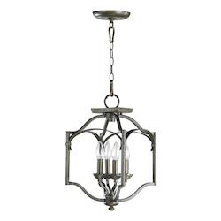 Open Box Four Light Oiled Bronze Open Frame Foyer Hall Fixture