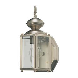 Quorum One Light Satin Nickel Clear Glass Wall Lantern