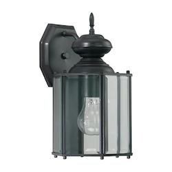Quorum One Light Bronze Clear Glass Wall Lantern