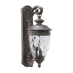Quorum Three Light Etruscan Sienna Clear Glass Wall Lantern