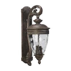 Quorum Four Light Etruscan Sienna Clear Glass Wall Lantern