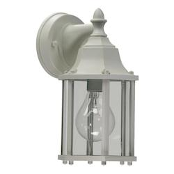 Quorum One Light White Clear Glass Wall Lantern