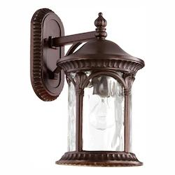 Quorum One Light Clear Hammered Glass Oiled Bronze Oiled Bronze Wall Lantern
