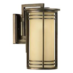 Quorum One Light Oiled Bronze Amber Scavo Glass Outdoor Wall Light