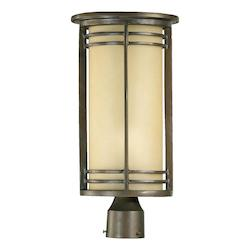 Quorum One Light Oiled Bronze Amber Scavo Glass Post Light