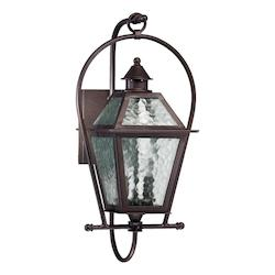 Quorum Two Light Oiled Bronze Clear Hurricane Glass Wall Lantern