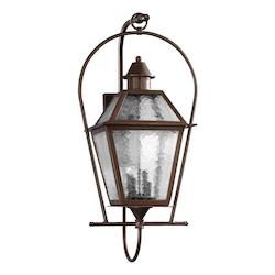 Quorum Four Light Oiled Bronze Clear Hammered Glass Wall Lantern