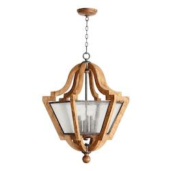 Quorum Six Light Provincial W/ Rustic Iron Accents Clear Seeded Glass Up Pend