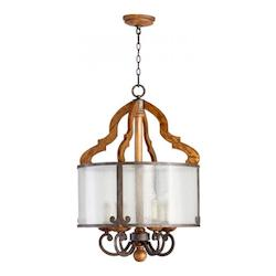 Quorum Six Light Provincial W/ Rustic Iron Accents Seeded Glass Drum Shade Pe