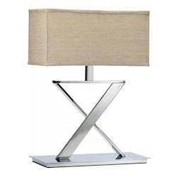 Cyan Designs Chrome and Tan 22in. Xacto Table Lamp from the Lighting Collection