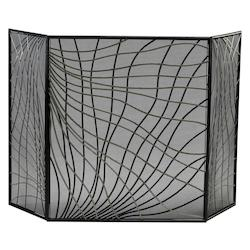Cyan Designs Silver and Black 30in. Finley Fire Screen