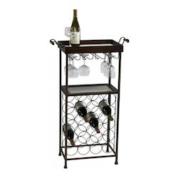 Cyan Designs Mahogany and Copper 40.5in. New York Wine Stand