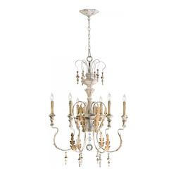 Cyan Designs Persian White 6 Light Up Lighting Chandelier from the Motivo Collection